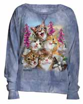 Blue Selfie Cats Slouchy Crew